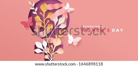 Happy Women Day greeting card illustration. 3D papercut female symbol with beautiful spring decoration and pink butterfly. Cute paper craft design for international women's event. #1646898118