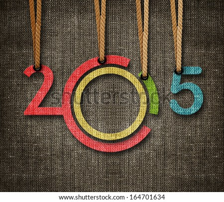 Happy New year 2015,  numbers hunging by rope as puppeteer on sackcloth background, the same concept available for 2016. Royalty-Free Stock Photo #164701634