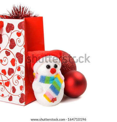 Xmas gift packet with decoration on white background #164710196