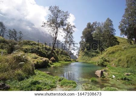 Beautiful Lake in segara anak rinjani mountain, Lombok , Indonesia