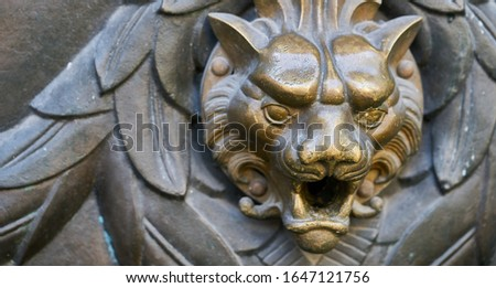 Door knocker with head of lion. Royalty-Free Stock Photo #1647121756