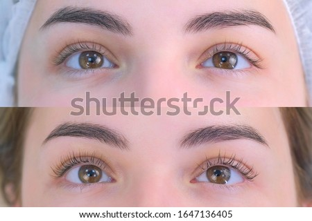 Woman's lashes after and before beauty procedure of eyelash lifting and laminating in beauty clinic, eyes closeup. Young woman in cosmetology clinic with open eyes. Lift of lash and eyelash. #1647136405