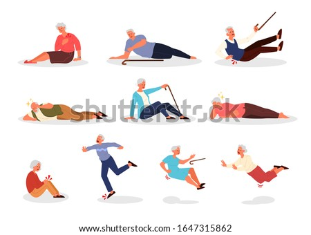 Falling old people set. Retired men and women falling down. Elderly person with cane falling. Pain and injury. Vector illustration in cartoon style #1647315862