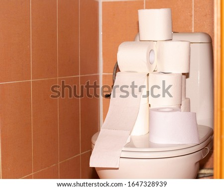 toilet roll on the toilet Toilet paper in the bathroom, placed on the toilet #1647328939