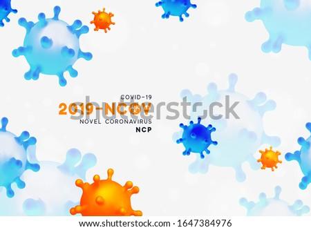 Novel Coronavirus (2019-nCoV). Virus Covid 19-NCP. Coronavirus nCoV denoted is single-stranded RNA virus. Background with realistic 3d blue and orange viral cells. danger symbol vector illustration. #1647384976