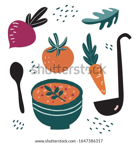 Vegetable soup. Hand drawn illustration set of tomatoes, carrot, green leaf, raddish, soup bowl, ladle and spoon isolated white background. - Vector #1647386317