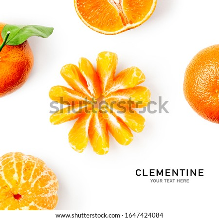 Fresh clementine with leaves as creative layout isolated on white background. Healthy eating and food concept. Tangerine or mandarin citrus fruits composition. Flat lay, top view. Design elements