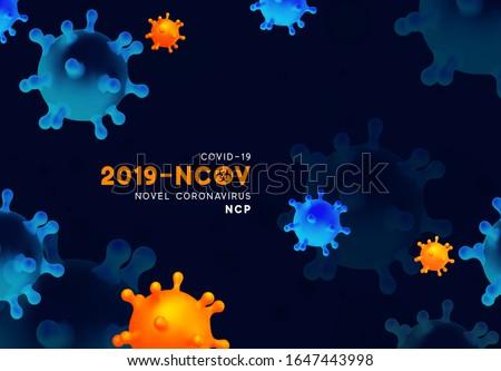 Novel Coronavirus (2019-nCoV). Virus Covid 19-NCP. Coronavirus nCoV denoted is single-stranded RNA virus. Background with realistic 3d blue and orange virus cells. danger symbol vector illustration. #1647443998