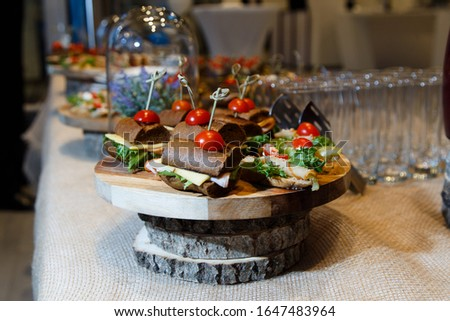 Beautifully decorated catering banquet table with different food snacks and appetizers. Lots of small appetizer sandwiches. #1647483964