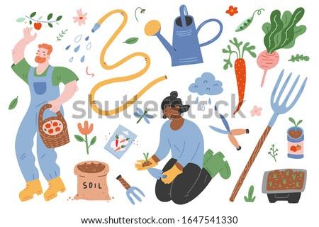 Garden set, people gardening, vector illustrations of garden gear, gardening tools and supplies, woman working in garden, man picking apples, spring outdoors activity, cute cartoon characters.