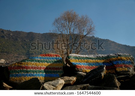colourful Buddhist lettering on rocks in the Everest region #1647544600