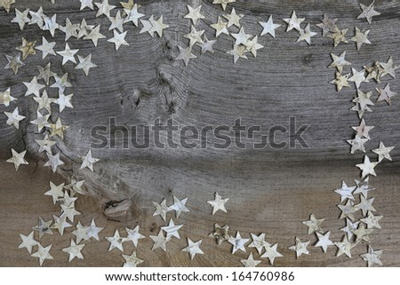 Christmas decoration white Birch wooden stars on rustic Elm wood background - retro style design, copy space