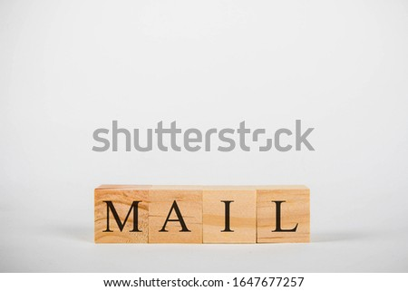 Wooden cubes with lettering spelling Mail #1647677257
