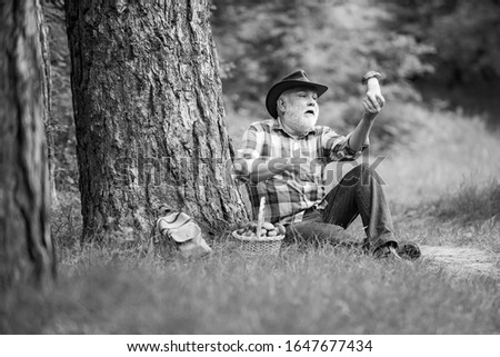 Mushrooming in forest, Grandfather hunting mushrooms over summer forest background. Mushroomer gathering Mushroom hunting. Man cutting a white mushroom #1647677434
