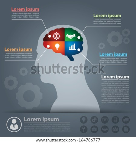 Think business infographics. Vector illustration. Can be used for layout, web design, brochure, flyer, leaflet, infographics