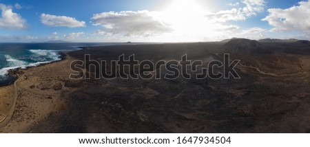 Panoramic volcano aerial view of Fuerteventura Canary island