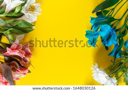 Colorful Springtime Flowers On Yellow Background. Easter or Spring background. Vibrant spring seasonal image with negative space