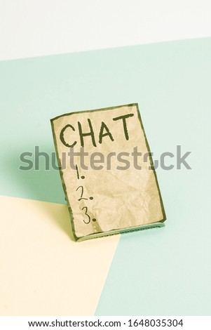 Writing note showing Chat. Business photo showcasing take part in a discussion that involves sending messages over internet Paper on buffer wire on soft pastel multi colours backdrop. #1648035304