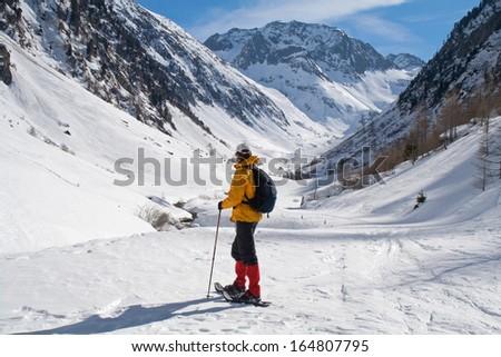 On a snowshoe hike towards Nufenen Pass. Gomstal, Wallis, Switzerland. Near Rhone glacier, Ulrichen, Münster, Geschinen, Furka. #164807795