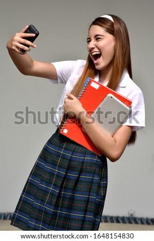 Selfie Of Student Teenager School Girl