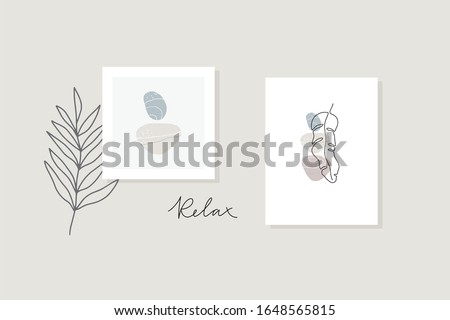 Abstract collage with shape with plant and stone. Flat illustration with sea stones, tropical leaves and and abstract shapes. #1648565815