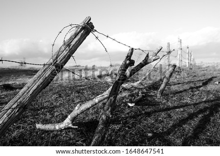 Barbed wire fence in the Mount San Vicino and Mount Canfaito Regional Nature Reserve in the foreground. Le Marche region. February 2020. Sunny day and cloudy sky. Blurry background. Black and white- #1648647541