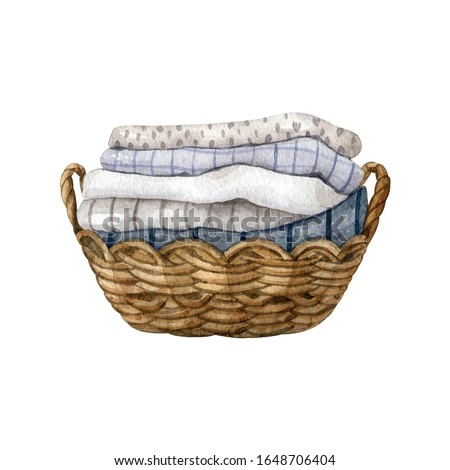 Zero waste wicker basket with cotton and linen kitchen towels isolated on white background. Watercolor hand drawn clipart. Eco-friendly aesthetic.