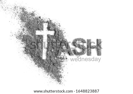 Ash wednesday, crucifix made of ash, dust as christian religion. Lent beginning Royalty-Free Stock Photo #1648823887