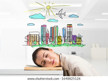 Happy business woman sleeping on workplace. Downtown with skyscrapers cartoon drawing above head. Smiling female worker in white suit dreaming in office. Real estate agency advertising.