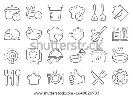 Cooking line icons. Boiling time, Frying pan and Kitchen utensils. Fork, spoon and knife line icons. Recipe book, chef hat and cutting board. Cooking book, frying time, hot pan. Line signs set. #1648826983
