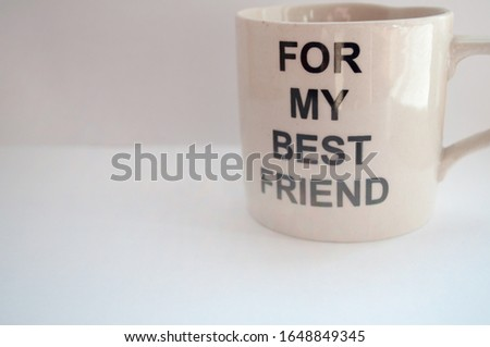 A mug is the best gift for a friend. mug on a white background.