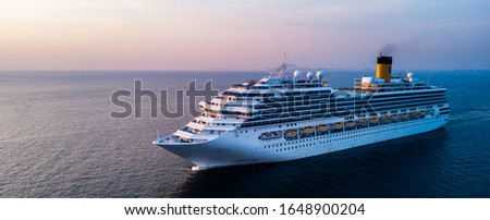Aerial view large cruise ship at sea, Passenger cruise ship vessel Royalty-Free Stock Photo #1648900204