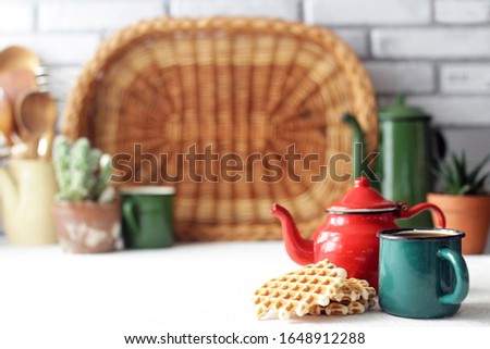 vintage teapot on rustic kitchen, cozy home and good morning concept #1648912288