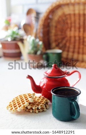 vintage teapot on rustic kitchen, cozy home and good morning concept #1648912291