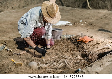 Archaeological excavations, human skeleton remains, found in an ancient tomb.  Royalty-Free Stock Photo #1648973563