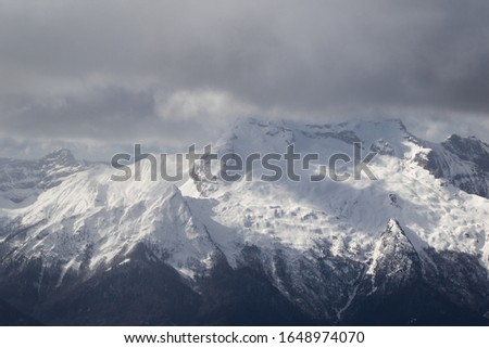 Photo taken in the french Alps in cloudy and windy conditions, which set a ferric atmosphere, with mountains emerging from the clouds, sea of clouds, forests, trees, black and white. #1648974070