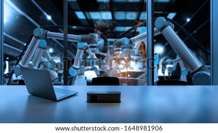 Factory Industrial Engineer control room office with automation robot arms machine in intelligent factory industrial on real time monitoring system software.Digital future manufacture. #1648981906