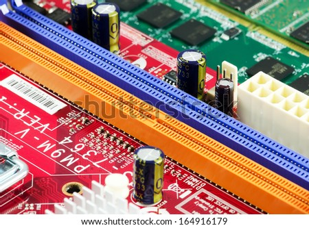 Computer motherboard board RAM connector slot,closeup image. #164916179