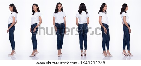 360 Full Length Snap Figure, Asian Woman wear casual white shirt blue jean, she 20s stands and acts in many poses, studio lighting white background isolated collage group #1649295268