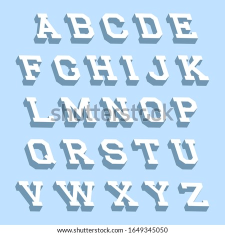 Alphabet letters with 3d isometric effect on abstract background. #1649345050