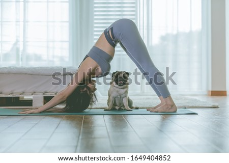 woman practice yoga Downward Facing dog or yoga Adho Mukha Svanasana pose to meditation and kissing her dog pug breed enjoy and relax with yoga in bedroom,Recreation with Dog Concept #1649404852