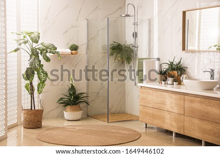 Stylish bathroom interior with countertop, shower stall and houseplants. Design idea Royalty-Free Stock Photo #1649446102