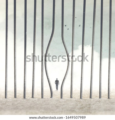 man escapes from prison abstract concept #1649507989