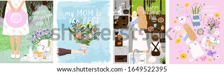 Happy Mother`s Day! Set of vector posters with woman celebrating on picnic; flowers bouquet in hand; mom and her children in kitchen and isolated objects. Drawings for a card, poster or postcard #1649522395