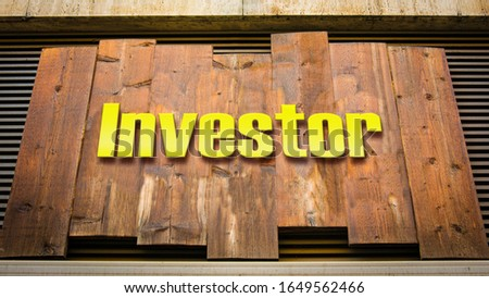 Street Sign the Direction Way to Investor #1649562466