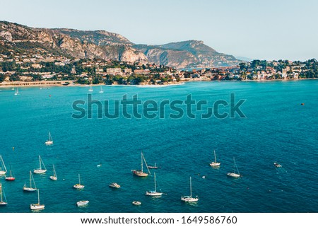 Landscape of harbor, port in Nice. Cote d'Azur France. Luxury resort of French riviera. scenery panoramic aerial cityscape view of Nice, France. azure water, harbor, apartments, yachts and sailboats. Royalty-Free Stock Photo #1649586760