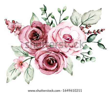 Watercolor pink flowers, roses floral clip art. Bouquet perfectly for printing design on invitations, cards, wall art and other. Isolated on white background. Hand drawing.