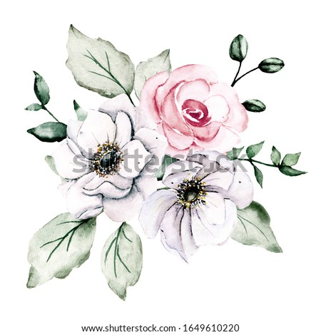 Watercolor pink and white flowers, roses floral clip art. Bouquet perfectly for printing design on invitations, cards, wall art and other. Isolated on white background. Hand drawing.