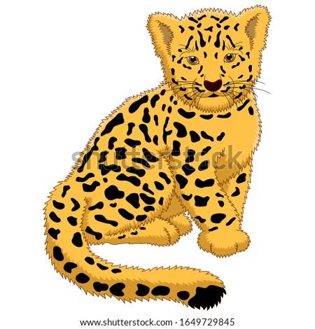 A baby leopard cartoon sitting