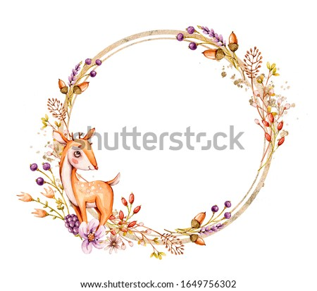 Watercolor nursery Cartoon wreath invitation with cute baby deer, leaves and flowers. Romantic hand painted frame spring, summer design. White background. Watercolour invitation design. Gender neutral